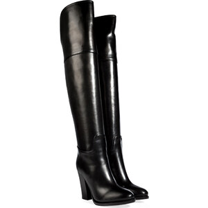 Ralph Lauren Collection Polished Leather Harrah Over-The-Knee Boots in Black