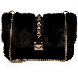 Valentino Fur Rockstud Shoulder Bag