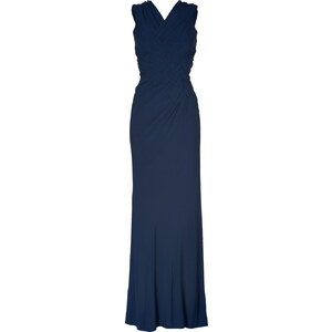 Donna Karan New Navy Sleeveless Woven Front Jersey Gown