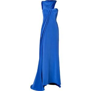 J Mendel Silk Cady Asymmetrical Gown in Royal Blue