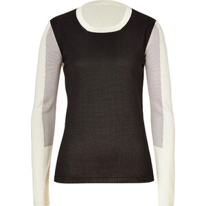 Jil Sander Black/Cream-Multi Colorblock Silk Pullover