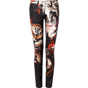 Roberto Cavalli Cotton Printed Pants in Black/Rose