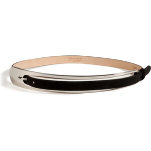 Maison Martin Margiela Leather Belt with Silver Metal Buckle