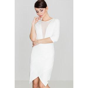 50d44da456e5 Lenitif Dámske biele asymetrické úpletové šaty so sieťkou na dekolte K320 -  Glami.sk