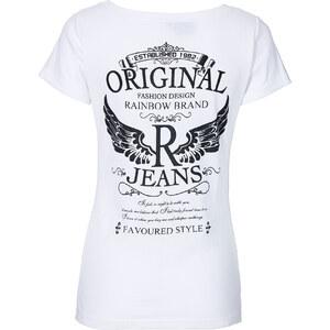 RAINBOW T-shirt kurzer Arm in weiß (V-Ausschnitt) für Damen von bonprix