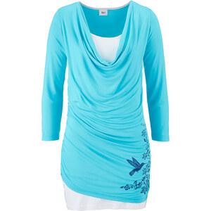 bpc bonprix collection 3/4 Arm Shirt im 2 in 1 Look in blau für Damen von bonprix