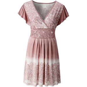 Shirtkleid/Sommerkleid kurzer Arm figurumspielend in grau (V-Ausschnitt) von bonprix