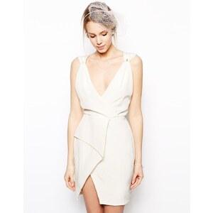 VLabel London - Carnaby - Kleid mit Wickelrock - Cremeweiß