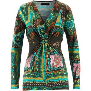 bpc selection Shirt langarm figurbetont in grün (V-Ausschnitt) für Damen von bonprix