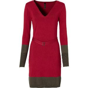 Kleid mit Gürtel langarm in rot von bonprix