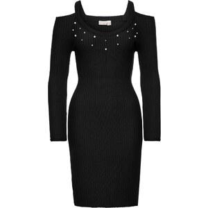BODYFLIRT boutique Bonprix - robe d été Robe avec application de perles  noir manches longues pour femme - Glami.fr ddce4e4dc094
