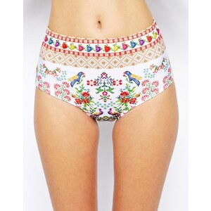 ASOS - Hoch tailliertes Bikinihöschen im Gobelin-Stil - Weißes Gobelin-Muster