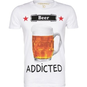 Happiness BEER ADDICTED TShirt print white