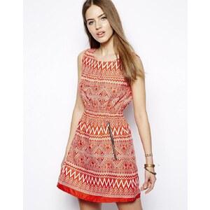 Iska - Bedrucktes Kleid mit Reißverschluss - Rot