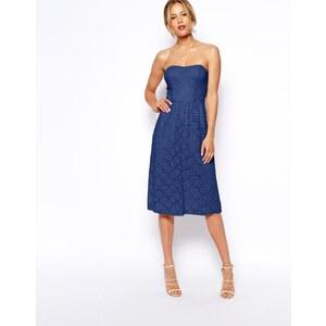 ASOS - Knielanges, trägerloses Kleid aus Spitze - Marineblau