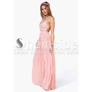 SheInside Pink Spaghetti Strap Embroidered Pleated Maxi Dress