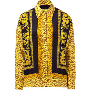 Versace Mustard Printed Silk Top
