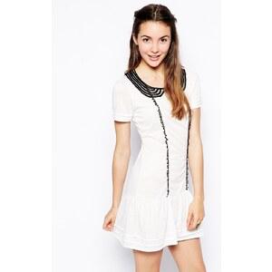 Pussycat London - Kleid kontrastierendem Kragen - Weiß
