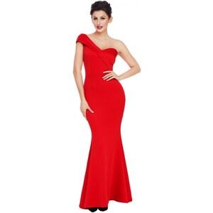 Dlhé trendy červené spoločenské šaty na jedno rameno LC61774-3 - Glami.sk 4cc39181d61