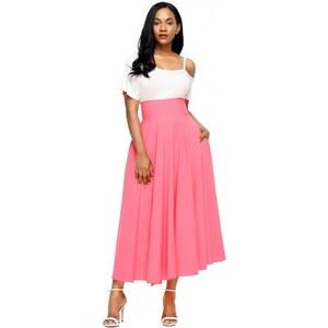 4ded3ff36ba9 Jersey ružová sukňa s vreckami a s vysokým pásom LC65053-10 - Glami.sk