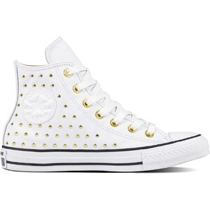 Converse bílé kotníkové tenisky se cvočky Chuck Taylor All Star Hi White  Gold - 41 - Glami.cz bfa1c97e608