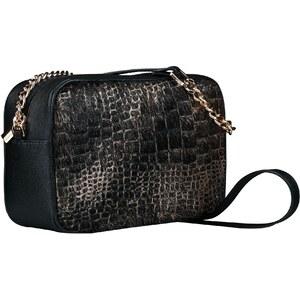 Malé luxusné kožené kabelky crossbody Wojewodzic čiernožltej s vlasom  31747  - Glami.sk 42f3b17ab44