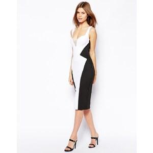 ASOS - Kleid mit tiefem Herzausschnitt - Schwarz/Weiß