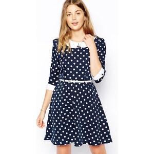 Yumi - Gepunktetes Kleid - Marineblau/Creme