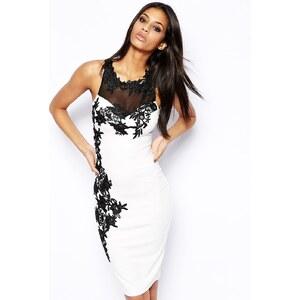 Lipsy - Figurbetontes Kleid mit Spitzenverzierung - Cremeweiß/Schwarz