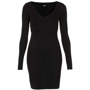 Topshop Bodycon-Kleid mit Ziernähten und V-Ausschnitt - Schwarz