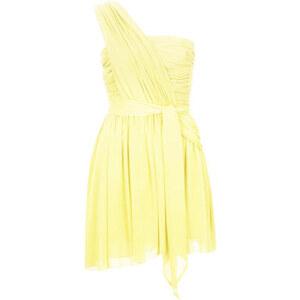 **Asymmetrisches Chiffonkleid von Kate Moss für Topshop - Gelb