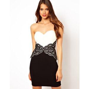 Lipsy – Trägerloses Kleid mit Schößchen und kontrastfarbener Applikation