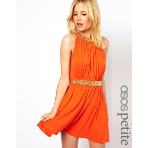 ASOS PETITE Exclusive Skater Dress With Embellished Collar And Waist