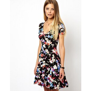 ASOS '90s Button Through Skater Dress In Foral