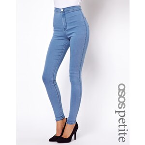 ASOS PETITE – Rivington – Denim-Jeggings mit hoher Taille in heller Waschung