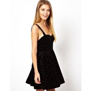 ASOS Stud Velvet Sweetheart Skater Dress