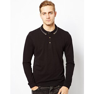 ASOS Polo With Long Sleeves And Tipped Collar