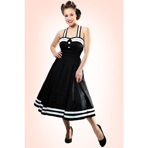 Collectif Clothing 50s Sindy Doll Sailor black swing dress