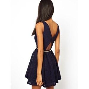 Little Mistress - Kleid mit tiefem Rückenausschnitt - Marineblau