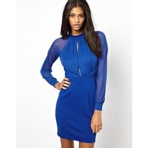 ASOS - Figurbetontes Kleid mit Raffung und Schlüssellochausschnitt - Kobalt