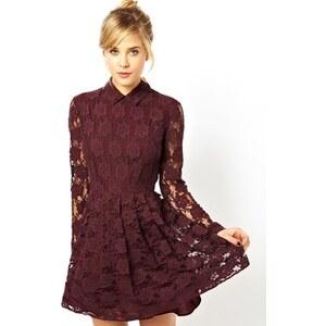 ASOS - Skaterkleid aus Spitze mit Kragen - Violett