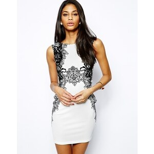 Lipsy - Figurbetontes Kleid mit Spitzendruck - Schwarz/Weiß
