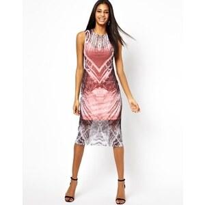 ASOS - Gemustertes Kleid mit Netzoberlage - Uni