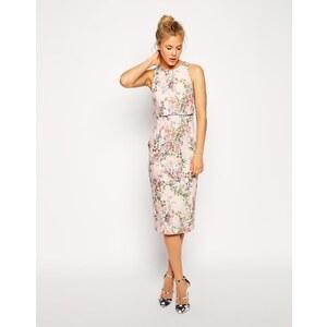 ASOS - Kleid mit kurzem Top und Blüten-Print - Mehrfarbig