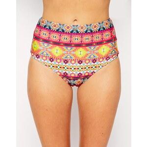 ASOS - Bikinihose mit hohem Sitz und leuchtendem Aztekenmuster - Aztekenmuster