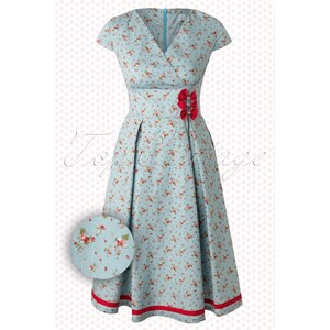 Whispering Ivy TopVintage exclusive ~ 50s Sweet Strawberry Dress in Blue