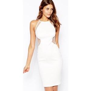 TFNC - Figurbetontes Kleid mit gepunktetem Netzeinsatz - Weiß