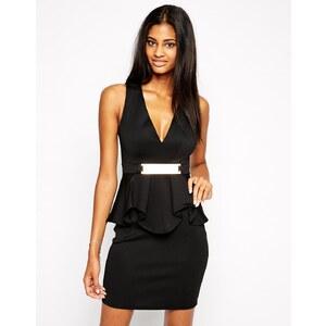 Lipsy - Figurbetontes Kleid mit tiefem V-Ausschnitt mit Rüschen und Metallschiene - Schwarz
