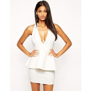 ASOS - Hochwertiges, tief ausgeschnittenes Kleid aus Neopren mit Schößchen - Weiß