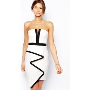 Lipsy - Trägerloses Kleid mit Origami-Rock - Cremeweiß/Schwarz